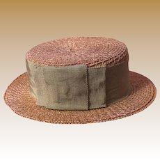 Antique Woven Basket Weave Salesman Sample Hat