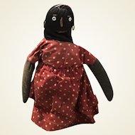 Antique American Folk Art Sock All Original Can Cloth Doll