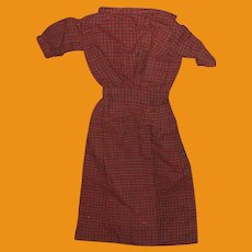 Antique Flannel Soft Wool Checked Doll Dress