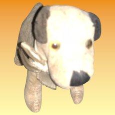 Old Velvet Center Seam Glass Eyed Straw Stuffed Doggy