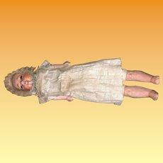 "Early 10"" Paper Mache Bebe Sonneberg Taufling Motschmann Doll with Mechanical Mouth"
