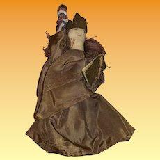 Antique Folk Art Lady Liberty Cloths Pin Bicentennial Ink Face Cloth Doll