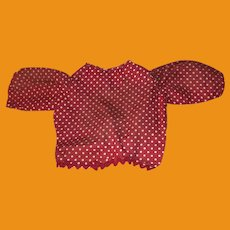 Antique Polka Dot Hand Sewn Doll Blouse