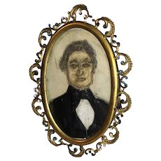 Antique Early Naive Watercolor Gentleman Portrait On Original Jeweled Frame