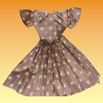 Antique Sateen Cotton Hand Made Fashion Doll Dress