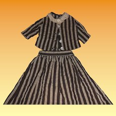 Antique Cotton Striped Early 2 Piece Doll Outfit