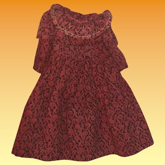 Antique Calico Red Doll Dress For a Smaller Doll