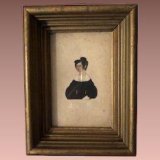 Antique Watercolor Miniature Folk Art Cutout Portrait