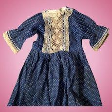 Antique Blue Polka Dot Lace Trim Doll Dress