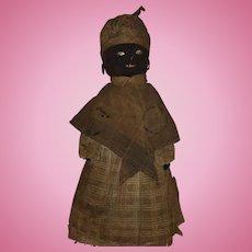 Antique Folk Art Black Americana Cloth Sock Broom Doll