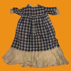 Antique Cotton Plaid Doll Dress