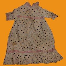 Antique Cotton Polka Dot Empire Waist Doll Dress