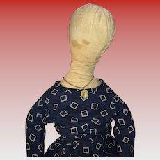 Antique Folk Art American Queen Anne Style Cloth Rag Doll