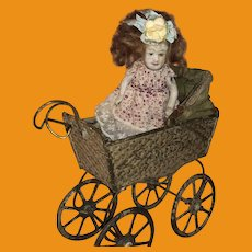 Antique German Embossed Painted  Dollhouse Pram With All Bisque Doll