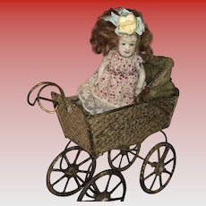 Antique German Embossed Oainted Dollhouse Pram With All Bisque Doll