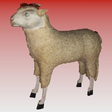 Antique German Putz Wooly Stock Leg Sheep