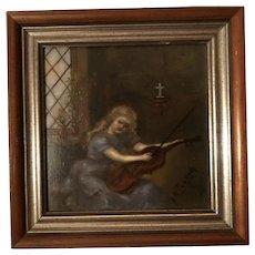 Antique American School Girl Art Oil Painting On Artist Board