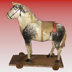 Antique German Paper Mache Platform Horse Floor Toy