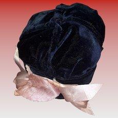 Antique Blue Velvet Fashion Doll Hat