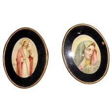 Antique Eglomise Lithogragh Dollhouse Miniature Madonna and Jesus Portraits