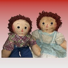 Vintage Rare Transitional Georgene Raggedy Ann and Andy with Unusual Legs