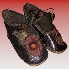 Antique German Brown Fashion Doll Shoes