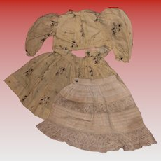 Antique 3 Piece Calico Fashion Doll Outfit