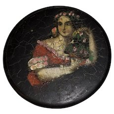 Antique Victorian Laquered Paper Mache Hand Painted Snuff Box