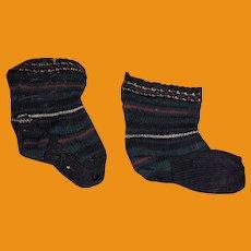 Antique Cloth Striped  Doll Teddy Bear Socks