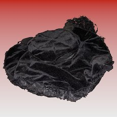 Antique Black Velvet Fashion Doll Hat