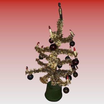 Vintage Miniature Dollhouse Bottle Brush Tree With Mercury Glass Bulbs