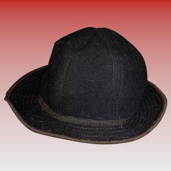 Antique Felted Wool Doll Or Teddy Bear Black Hat