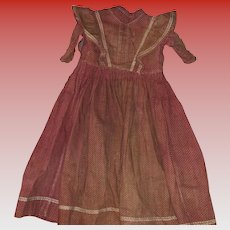 Antique Red Calico Early Doll Dress