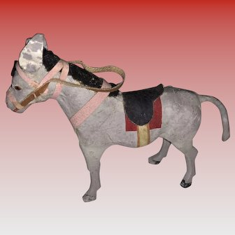 Antique German Miniature Paper Mache Stick Leg Donkey