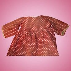 Antique Polka Dot Doll Dress For A Larger Doll