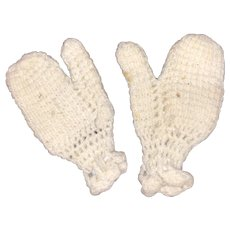 Antique Miniature Knit Doll Mittens