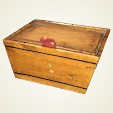 Early Antique Wooden Mascot Sewing Utility Miniature Box