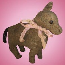 Antique Velvet Straw Stuffed Shoe Button Eye One Eared Pony