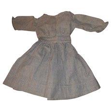 Antique 19th Century Blue Gingham Doll Dress