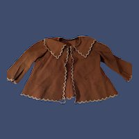 Antique Tan Felt Doll Or Teddy Bear Blouse