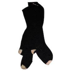Antique Knit Wool Black Doll Socks