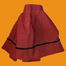Antique 19th Century Cotton Red Doll Skirt