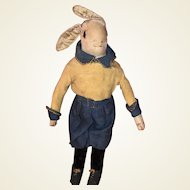 Antique Folk Art American Cloth Stockinette  Rag Doll Shoe Button Eyed Bunny