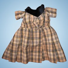 Antique Plaid Cotton Woven Velvet Collar Doll Dress