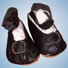 Antique Leather French Fashion Doll Shoes Marked J R