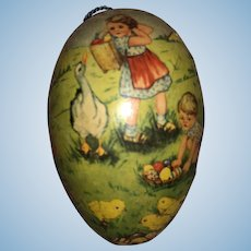 Antique Made In Germany Paper Mache Lithogragh Egg Candy Container