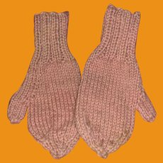 Antique 19th Century  Pink Miniature Wool Lancaster Pa Mittens