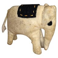 Antique Felted Hand Sewn Circus Elephant Miniature Cloth Doll