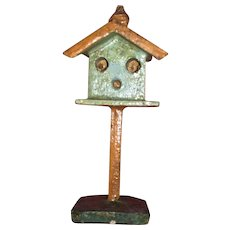 German  Erzgebirge Miniature Dollhouse Painted Wooden Birdhouse