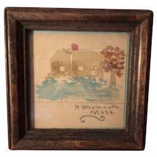 Antique Miniature New England Watercolor